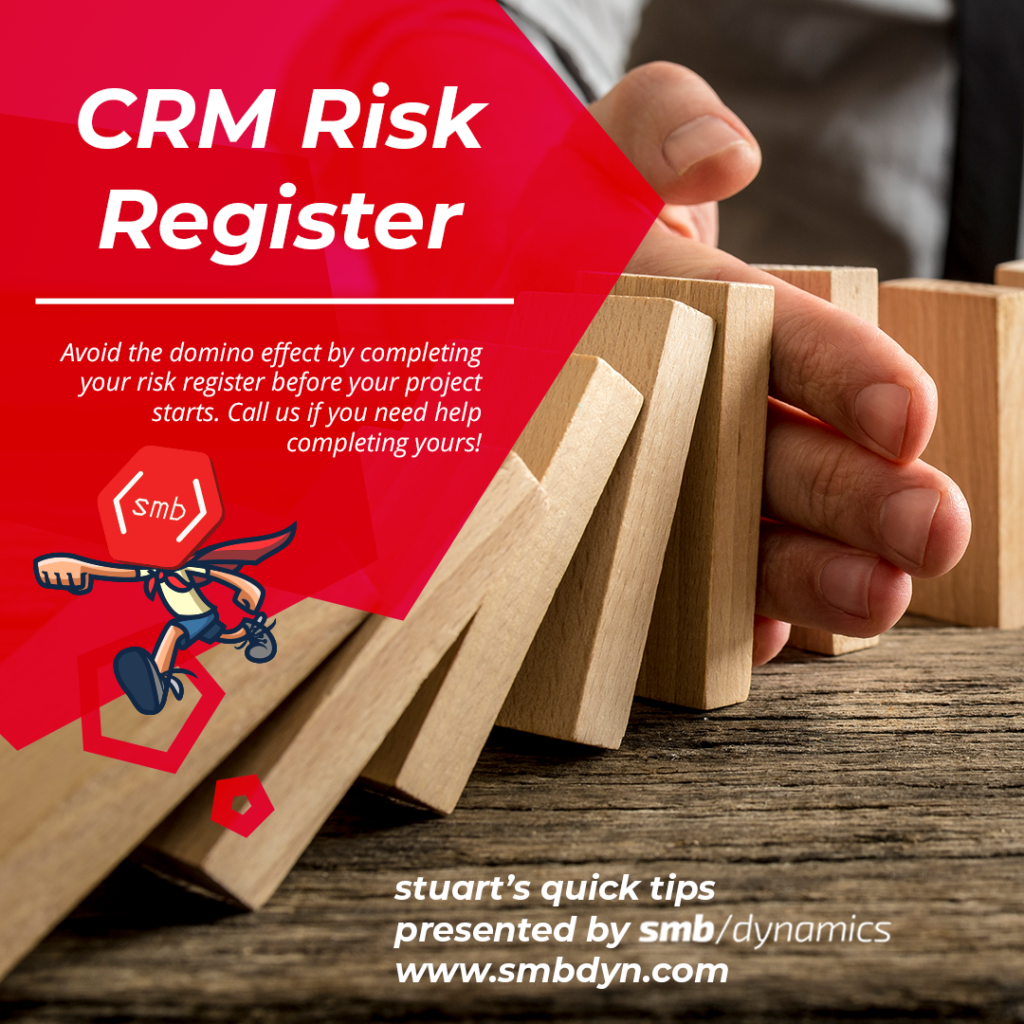 Avoid the domino effect by completing your risk register before your project starts. Call us if you need help completing yours!